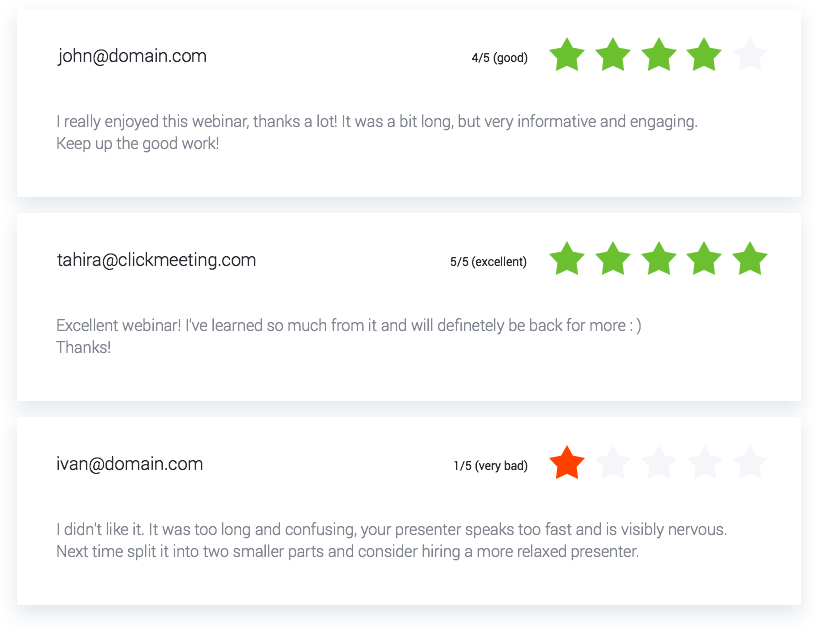Screenshot of how ClickMeeting has made it possible to ask your attendees to rank your webinar for feedback