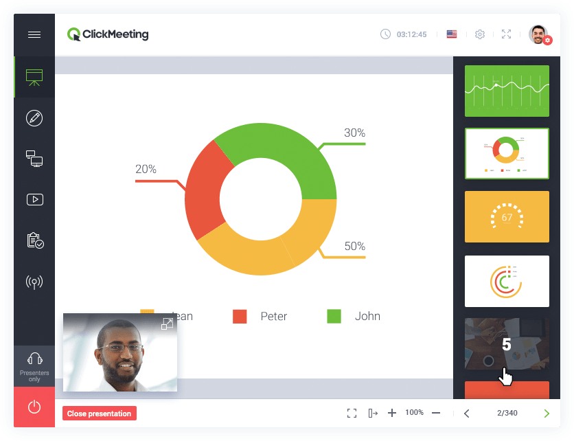 Screenshot of ClickMeeting's presentation tool allows you to engage your audience with content displayed in your webinar