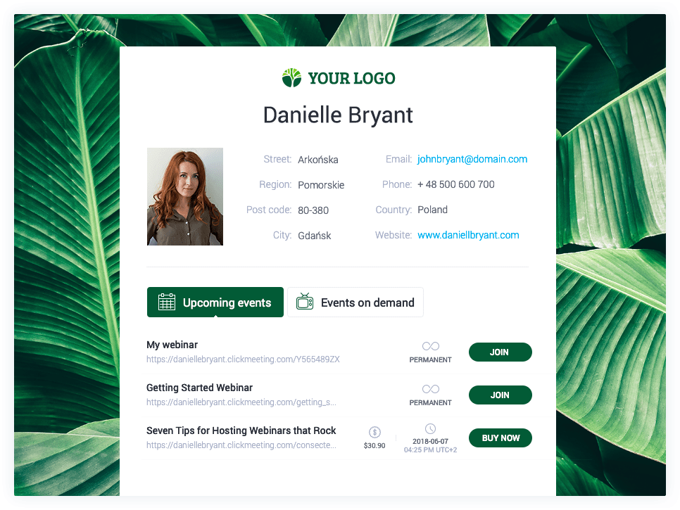 Screenshot of the type of profile page that ClickMeeting allows you to create