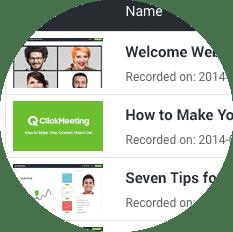 Zrzut ekranu przedstawiający proste zarządzanie nagraniami webinarów za pomocą ClickMeeting