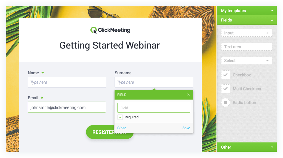 Screenshot of ClickMeeting's webinar registration page