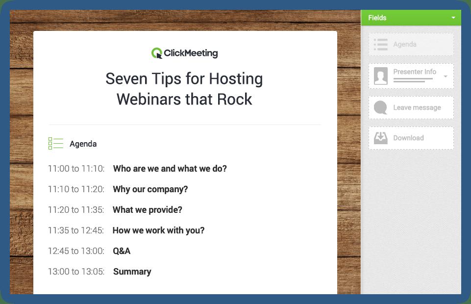 Screenshot of what ClickMeeting's webinar waiting room looks like