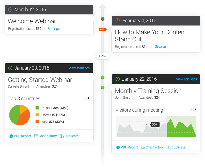 Screenshot of all of your upcoming and past webinars with ClickMeeting's webinar timeline